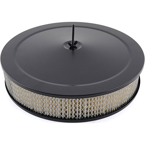 "Racing Power Company R2195BK-BOX - Black 14"" X 3"" Muscle Car Style Air Cleaner Set - Paper Element & Recessed Base"