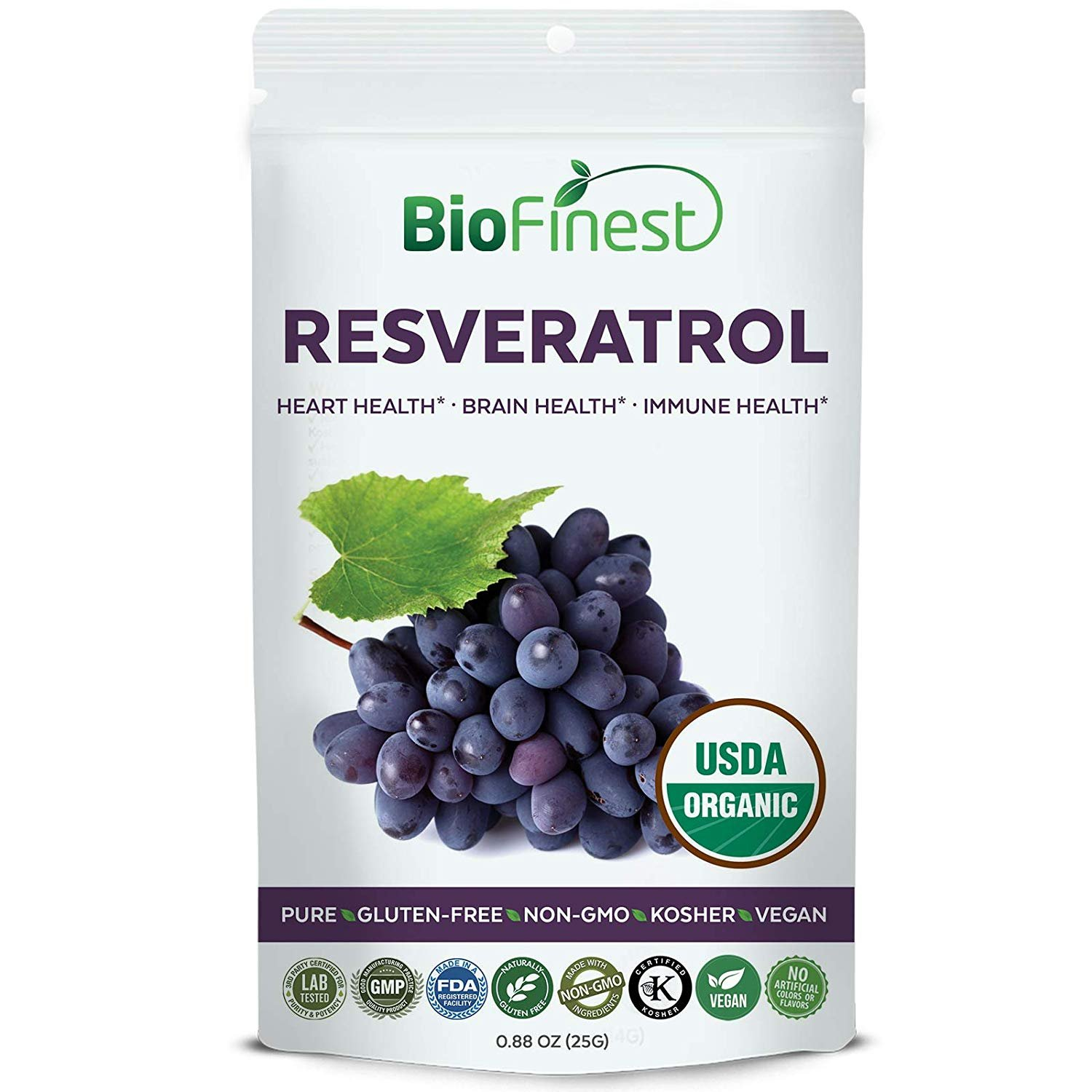 Biofinest Resveratrol Powder 250mg - USDA Certified Organic Red Grapes Pure Gluten-Free Non-GMO Kosher Vegan Friendly - Natural Supplement For Healthy Aging And Skin, Brain Health, Heart Support (25g)