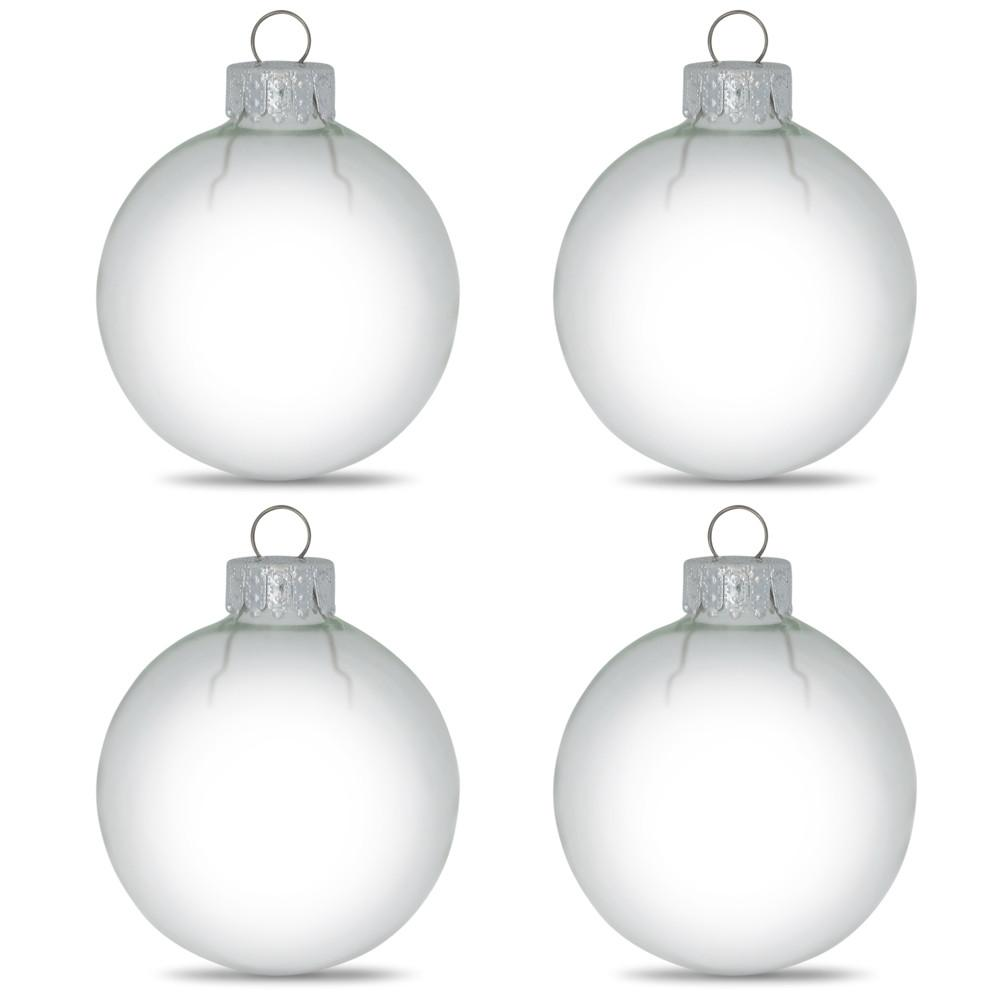 "3.15"" Set of 4 Clear Glass Ball Christmas Ornaments"