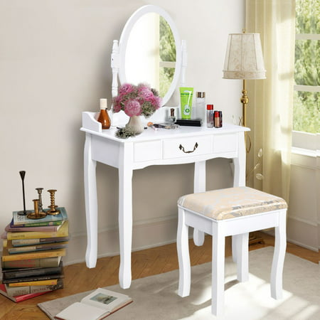 Costway Vanity Table Jewelry Makeup Desk Bench Dresser W