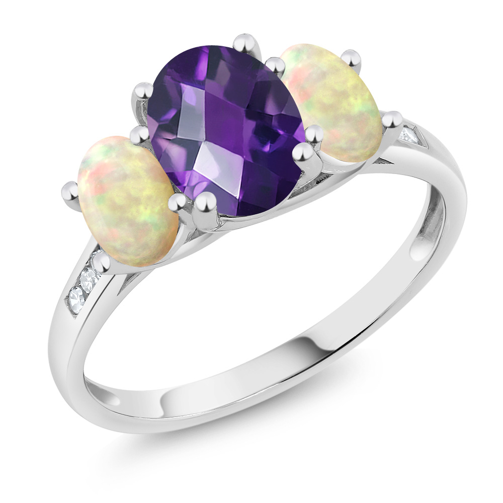 10K White Gold 1.64 Ct Checkerboard Amethyst White Ethiopian Opal 3-Stone Ring