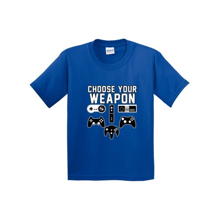 New Way 1204 - Youth T-Shirt Choose Your Weapon Gaming Console Controllers Small Royal Blue