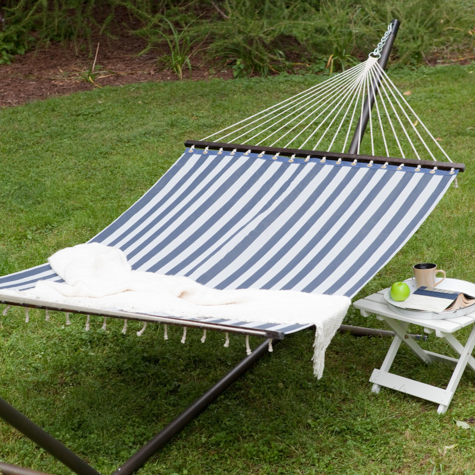 Island Bay 13 ft. Quick Dry Poolside Navy Stripes Hammock with Steel Stand