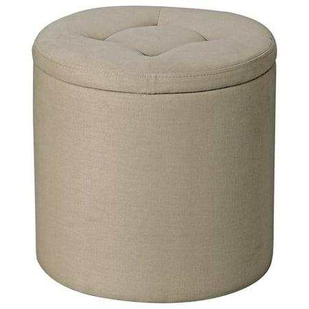 mainstays round storage ottoman tan