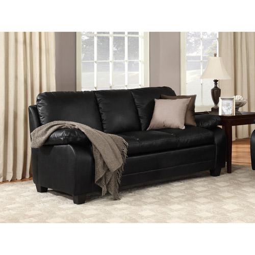 chelsea faux leather sofa black