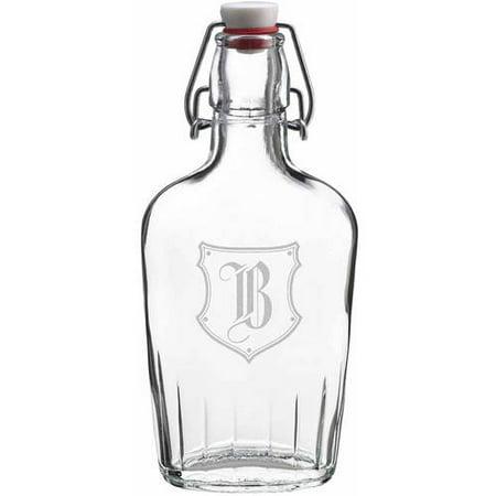 Lillian Rose Clear Glass Flask Monogram, A