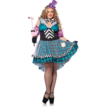Plus Size Manic Mad Hatter Adult Halloween Costume (Dark Alice Costume Plus Size)