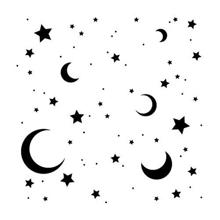 Moon & Stars Stencil by StudioR12 | Dreamy Night Sky Pattern Art - Reusable Mylar Template | Painting, Chalk, Mixed Media | Use for Journaling, DIY Home Decor - STCL706 SELECT SIZE (6