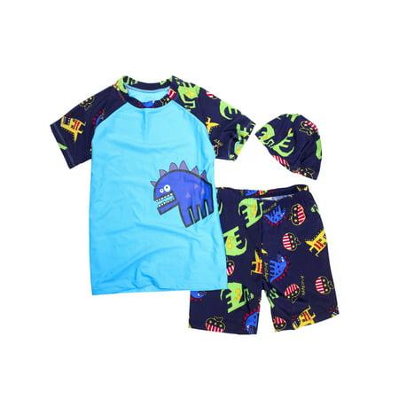 a6bb8f7539 StylesILove - Kids Boy Cartoon Dinosaur Shark Rashguard Top   Swim Shorts  with Hat 3 pcs Set (Blue Dinosaur Blue