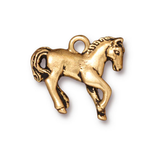 22K Gold Plated Pewter Prancing Horse Charm 20mm (1)