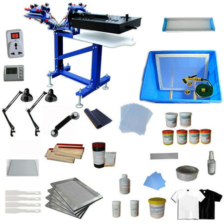 Techtongda 3-1 Color Floor Type Screen Printing Kit Micro-registration Rotating Press with 110V Dryer Exposure Unit Material Supply For Starter (Best Reloading Press Kit)