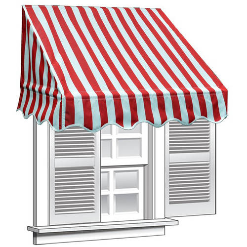 Aleko 8 X 2 Window Awning Door Canopy Red And White Stripes