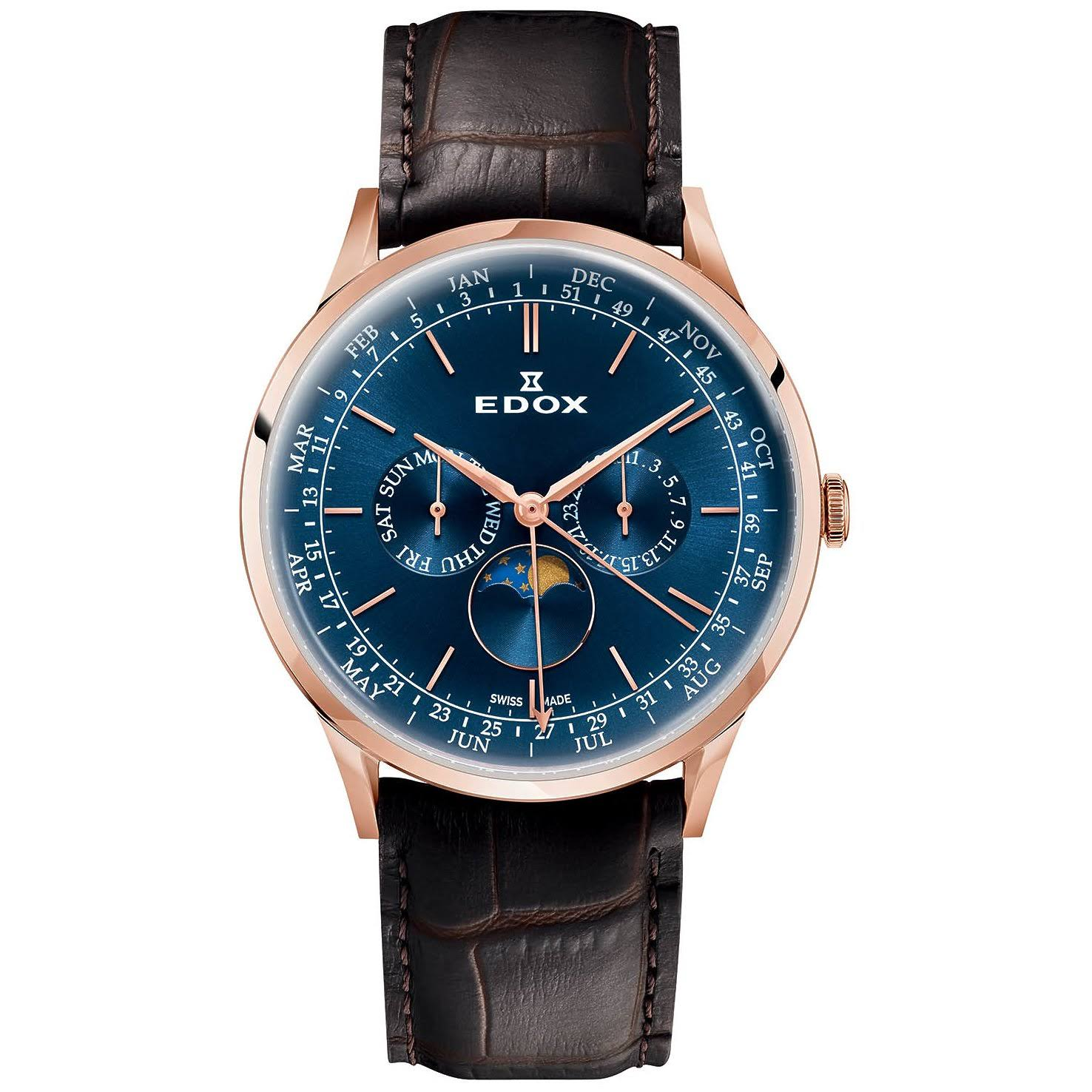 Edox Les Vauberts Blue Dial Mens Watch 40101 37RC BUIR