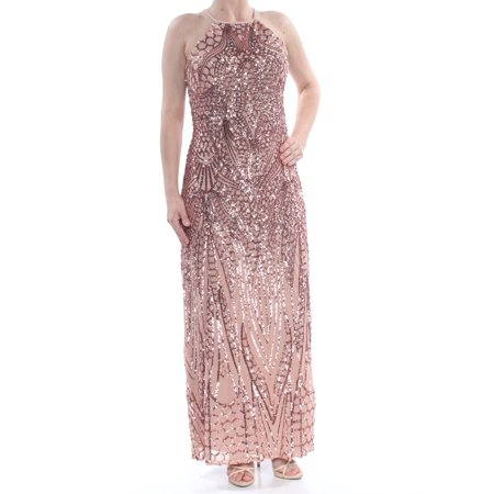 NIGHTWAY Womens Pink Sequined Low Back Sleeveless Halter Full-Length Formal Dress  Size: 6 (Low Back Sequin)