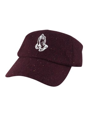 Product Image Men Pray Wish Hand Wool Sprinkle Unstructured Adjustable  Strapback Hat Dad Cap by CapRobot - Burgundy 845a05d2ef06