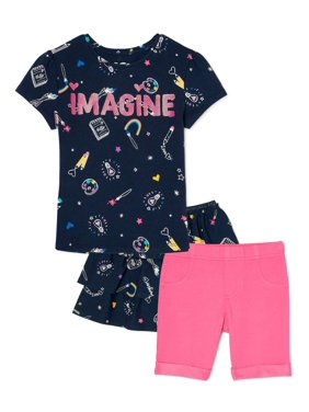 365 Kids From Garanimals Girls Graphic T-Shirt, Bermuda Shorts, and Skirt, 3-Piece Outfit Set, Sizes 4-10