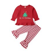 Newborn Infant Baby Girl My 1st Christmas Toddler Girl Ruffle Shirt Tops Striped Flare Pants Fall Winter Outfit Clothes