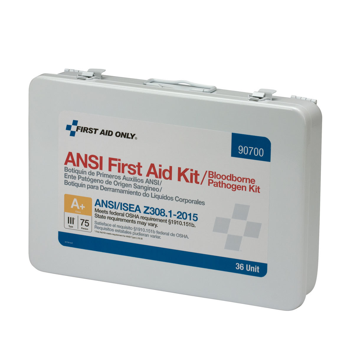 First Aid Only 36 Unit 75 Person ANSI A+ First Aid Kit with BBP Pack