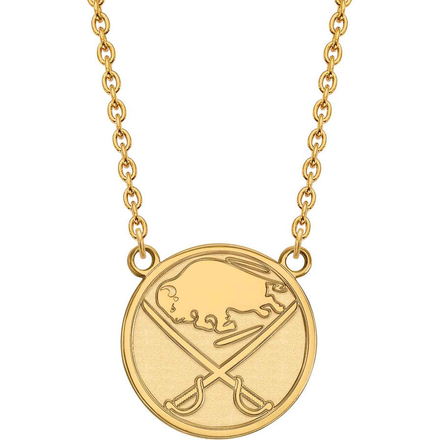 NHL Buffalo Sabres 14kt Yellow Gold Large Pendant with Necklace