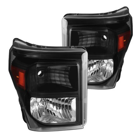 Spec-D Tuning For 2011-2016 Ford F250 F350 F450 F550 SuperDuty Black Headlights Head Lights Lamps Pair (Left+Right) 2011 2012 2013 2014 2015 2016 ()