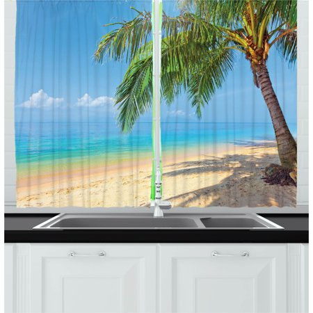 Landscape Curtains 2 Panels Set, Tropic Botanic Image with Coconut Palms near Ocean Sea Beach Photo, Window Drapes for Living Room Bedroom, 55W X 39L Inches, Sky Blue Aqua Cream Green, by Ambesonne ()