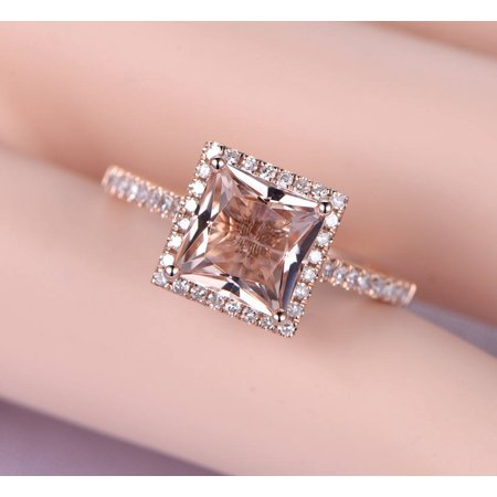 - Antique 1.25 carat Morganite and Diamond Engagement Ring in 10k Rose Gold for Women
