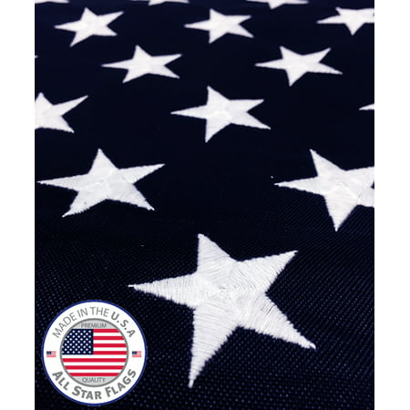 Durable Polyester Flag Measures - HEAVY-DUTY American Flag 3x5' - 100% Made in the USA - Durable, Long Lasting, Rich Polyester Material - Embroidered Stars, Sewn Stripes with Lock Stitching, Four Rows of Lock Stitching on the Fly End