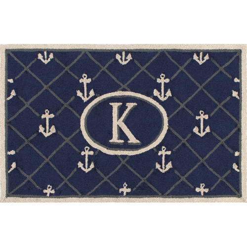 nuLOOM Heather Blue Letter K Area Rug