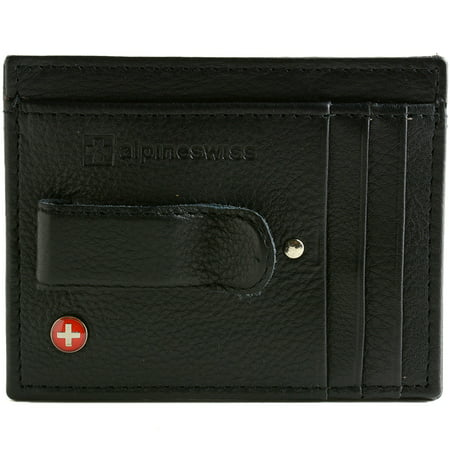 Black Matte Money Clip (Alpine Swiss Mens Money Clip Genuine Leather Minimalist Slim Front Pocket)