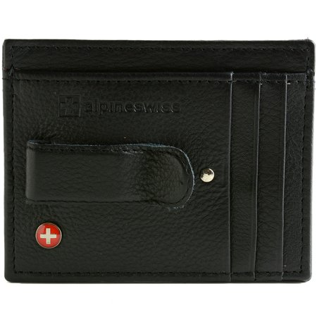Leather Wallet Money Organizer - Alpine Swiss Mens Money Clip Genuine Leather Minimalist Slim Front Pocket Wallet