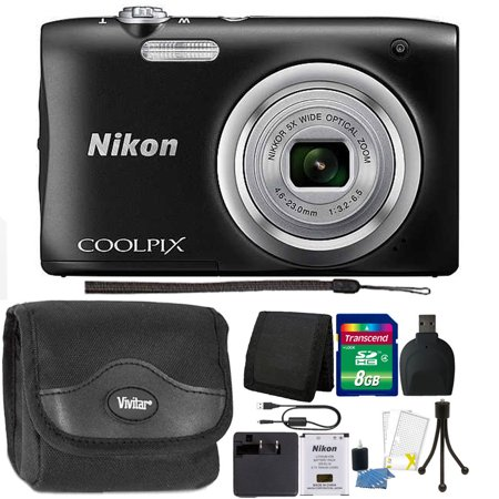 Nikon COOLPIX A100 20.1MP f/3.7-6.4 Max Aperture Compact Point and Shoot Digital Camera 8GB Accessory Kit -