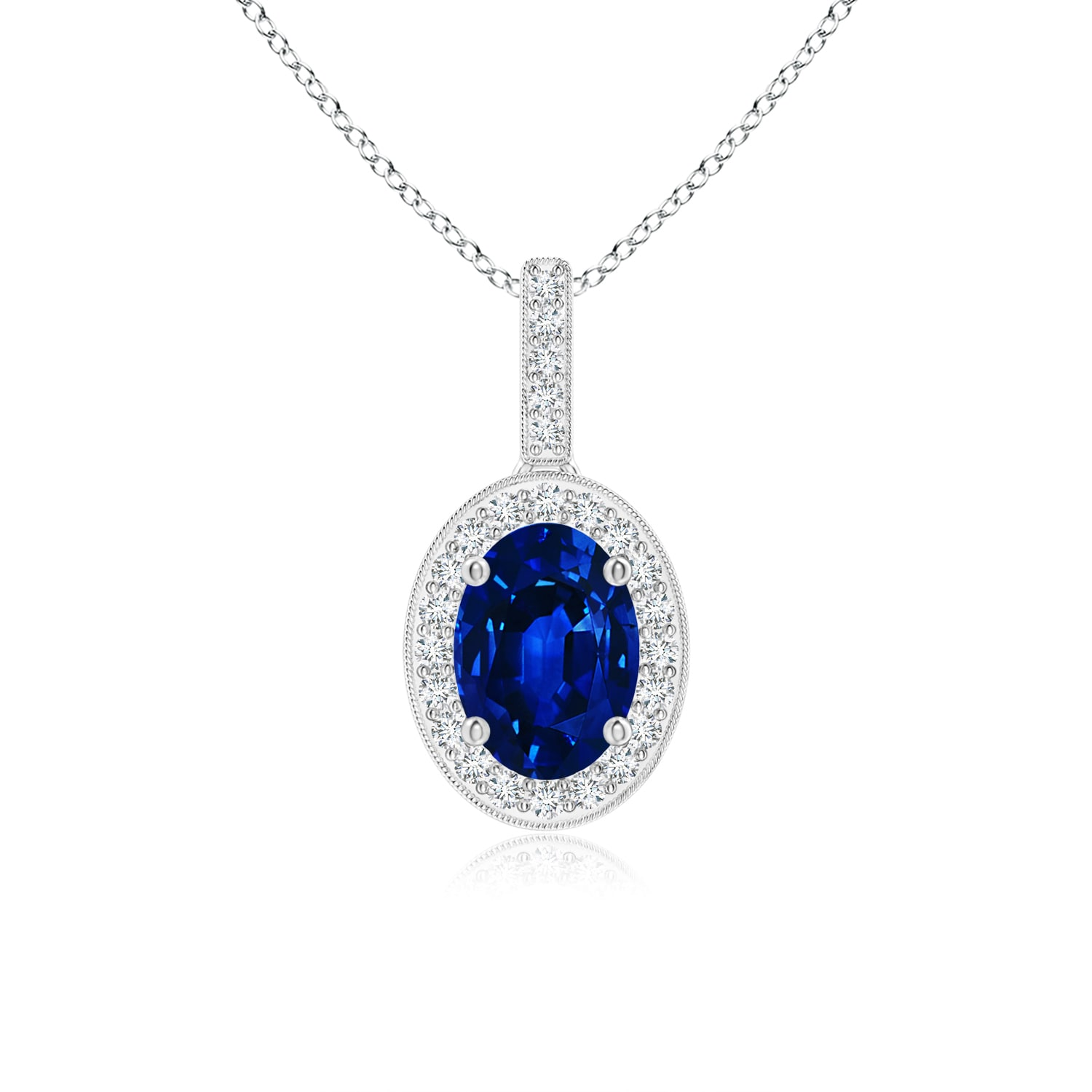 Vintage Oval Sapphire Pendant Necklace with Diamond Halo in Platinum (7x5mm Blue Sapphire) by Angara.com