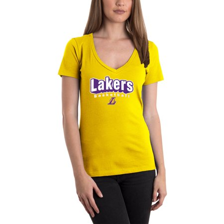 Women's 5th & Ocean by New Era Gold Los Angeles Lakers NBA V-Neck (Los Angeles Lakers Glass)