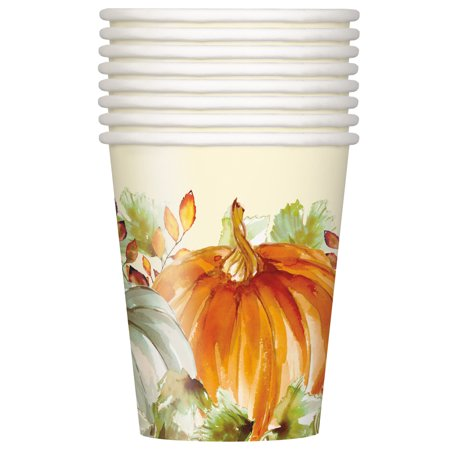 9 Oz Paper Cups (Watercolor Pumpkins Fall Paper Cups, 9 oz,)