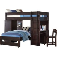 Rosebery Kids Loft Bed & Twin Bed with Desk, Chair, Storage Shelves in Wenge