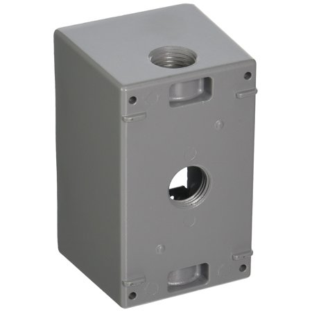 Taymac SD350S Weatherproof Box, 1-Gang, (3) 1/2-Inch Outlets, Deep, Gray ()
