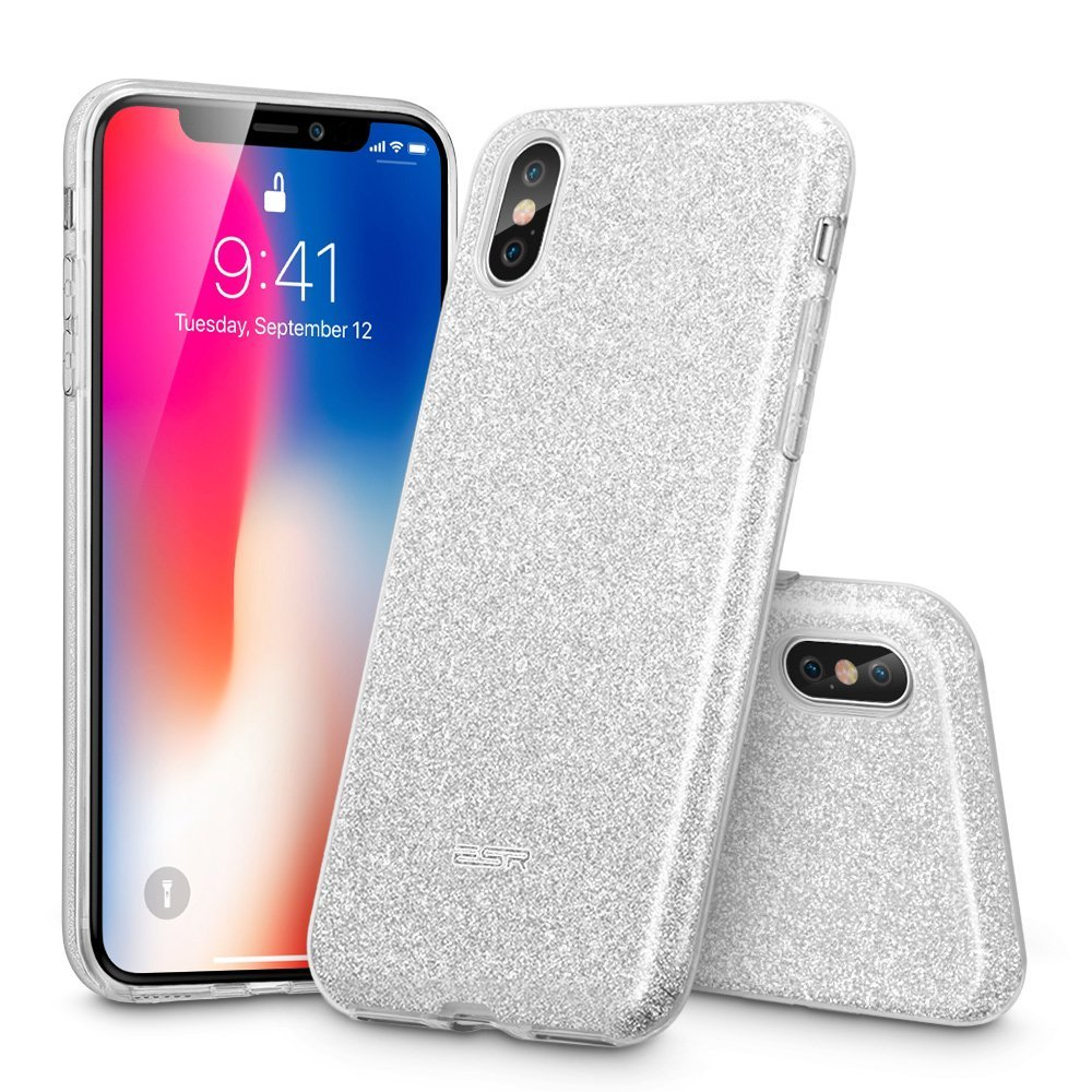 iPhone X Case, ESR iPhone X Glitter Sparkle Bling Case Silver