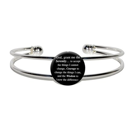 Prayer Bracelets (Serenity Prayer On Black Silver Plated Metal Cuff)