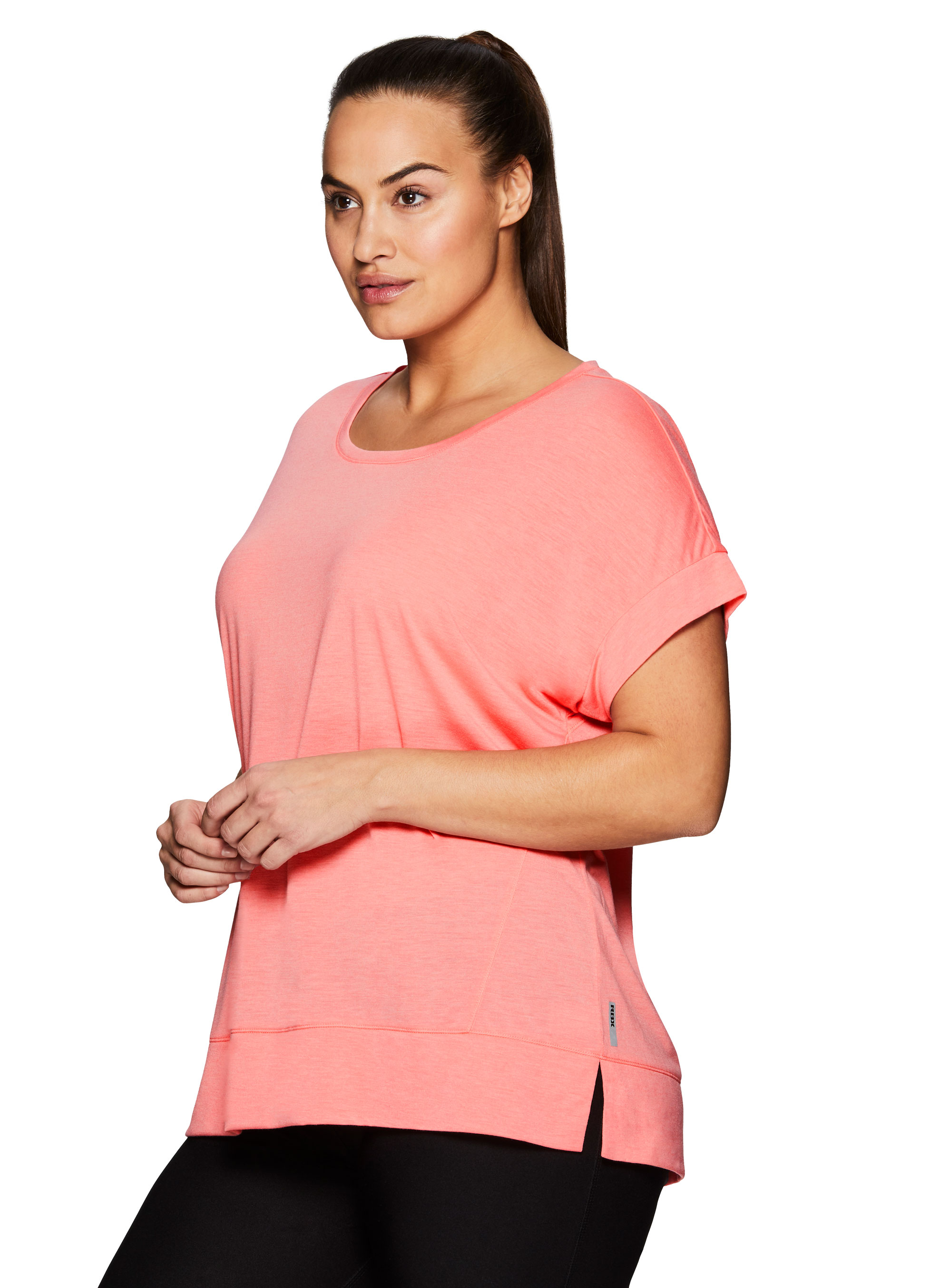 4764a644e2aa9 RBX - RBX Active Women s Plus Size Pilates Workout Short Sleeve Yoga Top -  Walmart.com