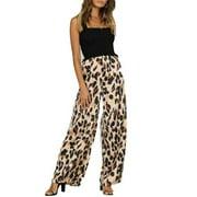 Women Office Leopard grain Pants Loose High Waist Wide Leg Long Palazzo Trousers