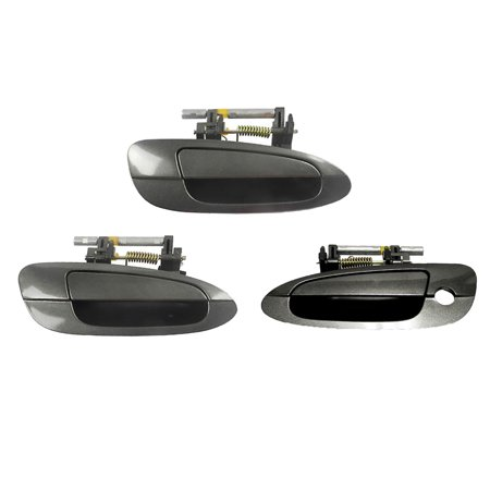 For 2002-2006 Nissan Altima Smoke Metallic K11 Exterior Outer Door Handle SET 3PCS Front and Rear Rihgt Side 02 03 04 05 (Smoke Rear Set)