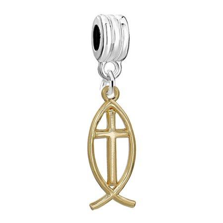 Jesus Fish Charm - SEXY SPARKLES Jesus Cross Fish Ichthys European Charm Spacer Bead Fits Pandora Bracelets