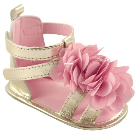 Newborn Baby Girls' Flower Gladiator Sandal with Badge - Gold Flower Girl Shoes