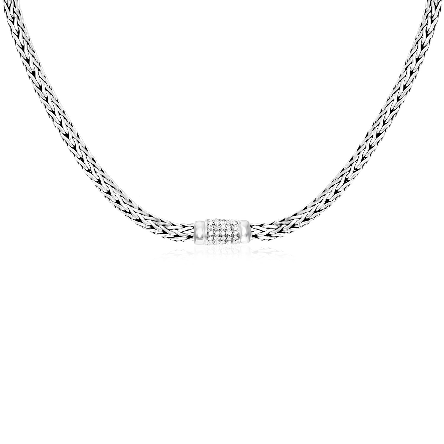 """Sterling Silver Woven Necklace with White Sapphire Accents 18"""" by Mia Diamonds"""