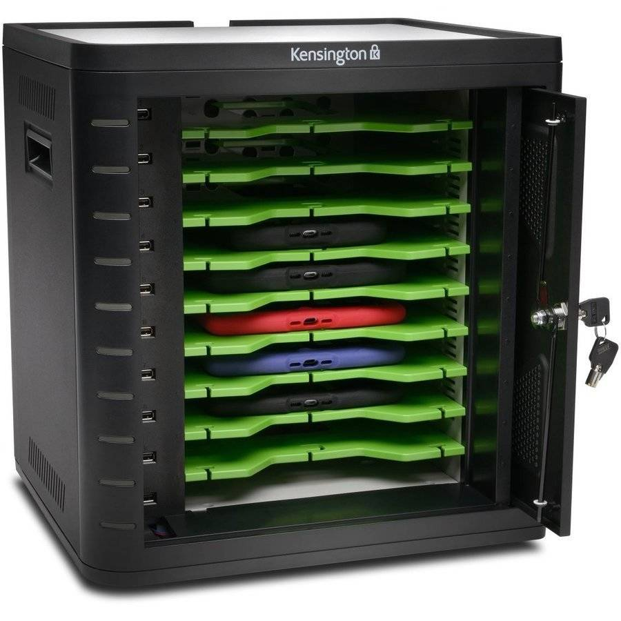 Kensington K67862AM Universal Charge and Sync Cabinet for Tablet PCs, Black