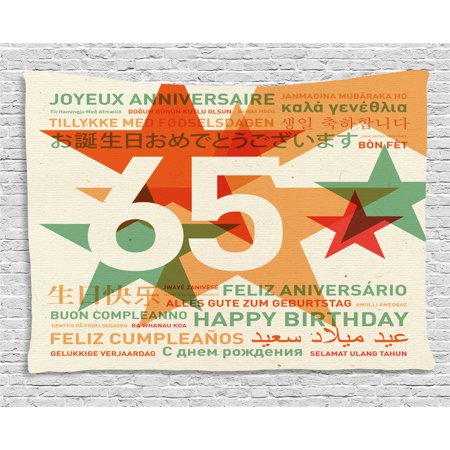 65th Birthday Decorations Tapestry, Happy Birthday in Languages French Italian Worldwide Celebration, Wall Hanging for Bedroom Living Room Dorm Decor, 60W X 40L Inches, Multicolor, by Ambesonne](Decorations In French)