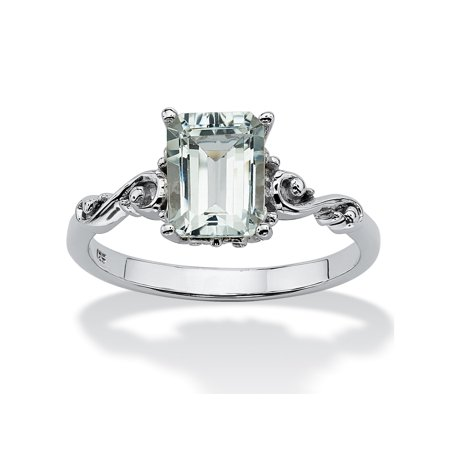 1.40 TCW Emerald-Cut Genuine Aquamarine Platinum over Sterling Silver Scrolling Shank - Platinum Tiffany Style Ring
