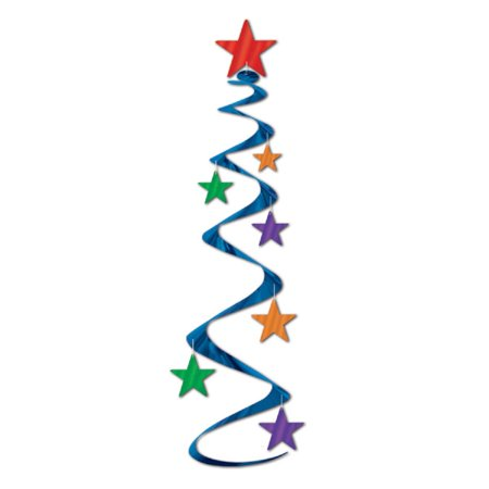 """Club Pack of 18 Multi-Colored Star Hanging Whirl Decorations 30"""""""