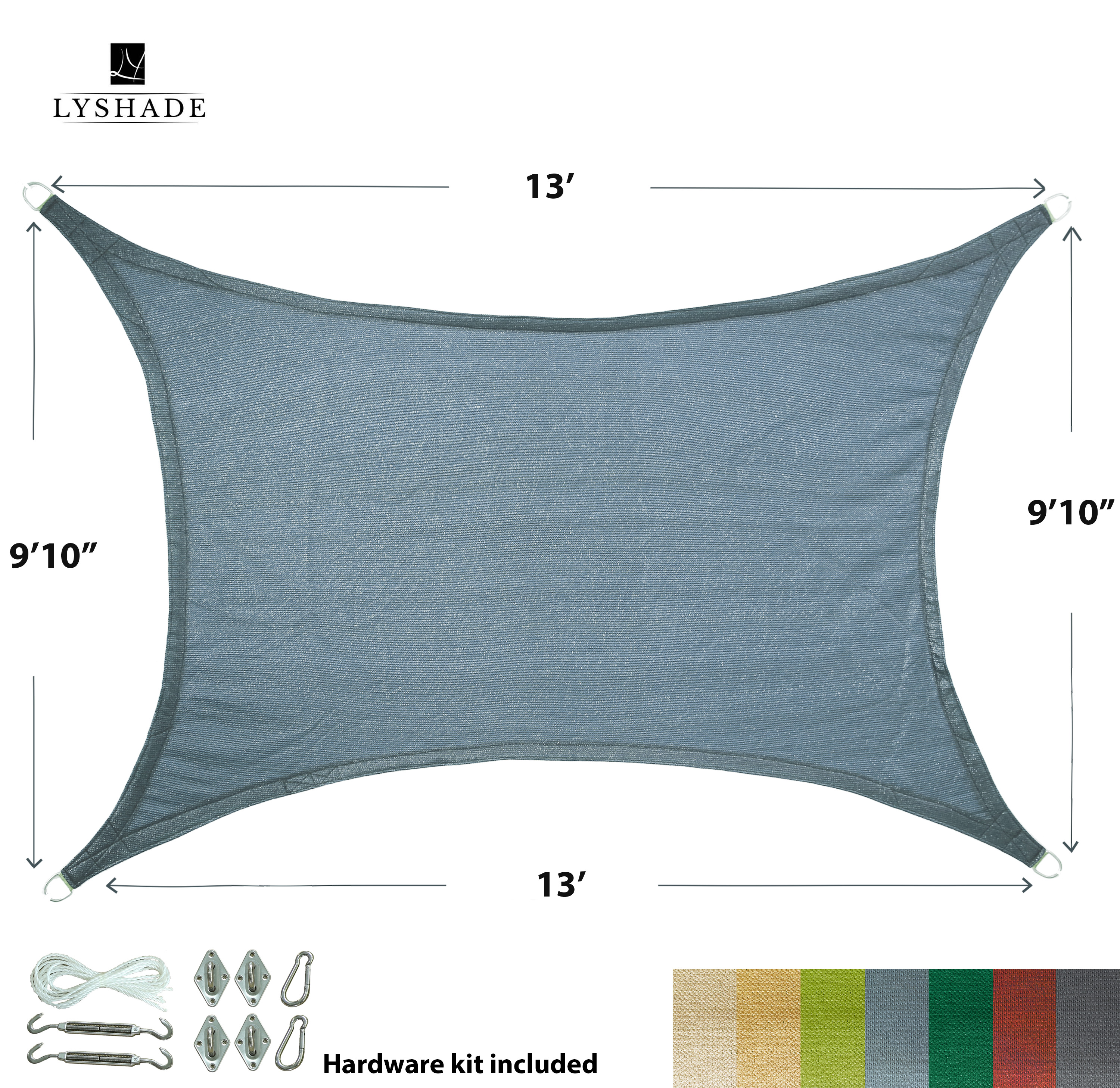 """LyShade 19'8"""" x 13' Rectangle Sun Shade Sail Canopy with Stainless Steel Hardware Kit - UV Block for Patio and Outdoor"""