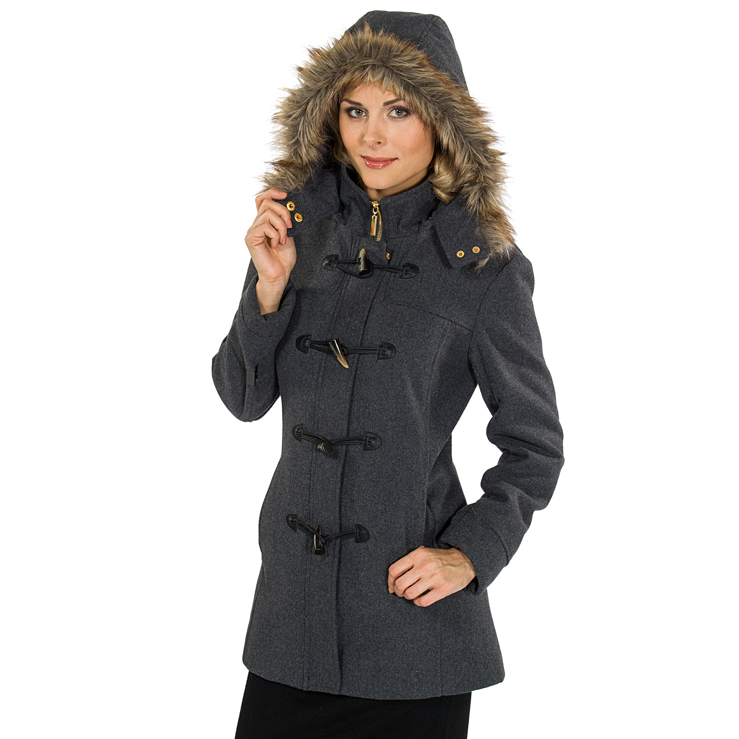 Alpine Swiss Duffy Women's Hooded Parka Fur Trim Wool Coat Toggle Button Jacket by